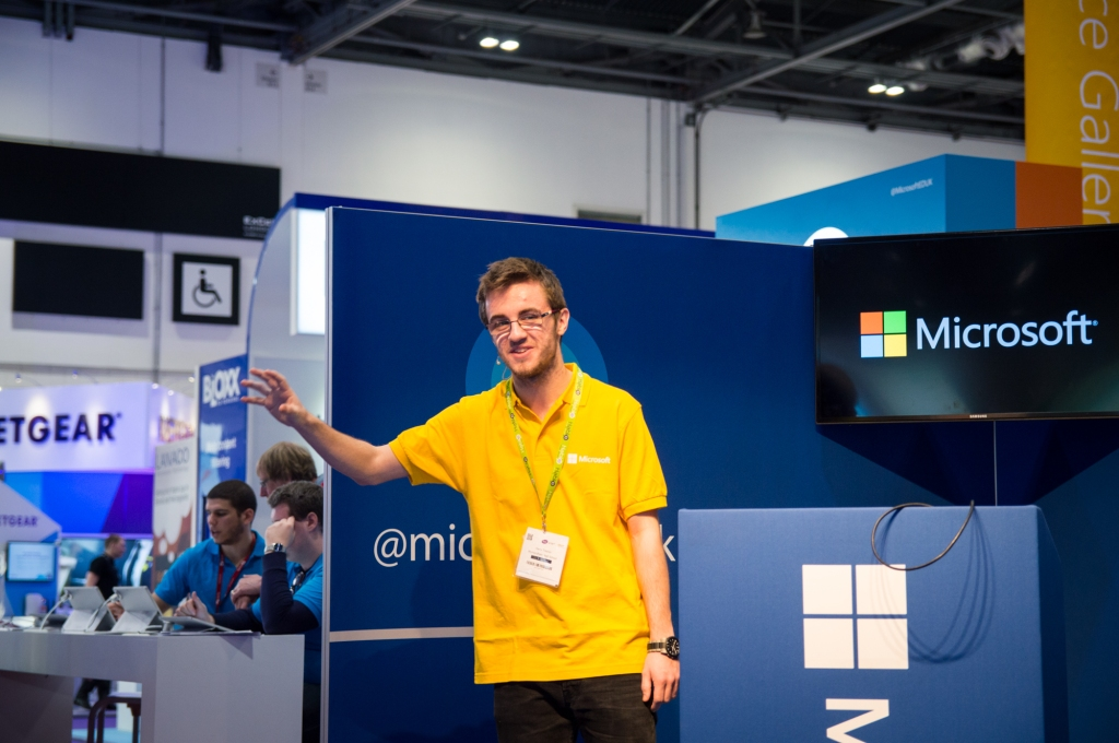 Harry Traynor delivers a presentation about the Surface Pro 3 at the BETT Show.