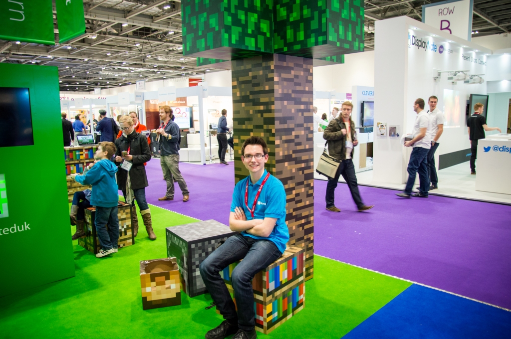 Here I am underneath the infamous 'Minecraft Tree' at the BETT Show.